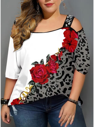 Leopard Floral Print Cold Shoulder 3/4 Sleeves Casual Elegant Plus Size Blouses