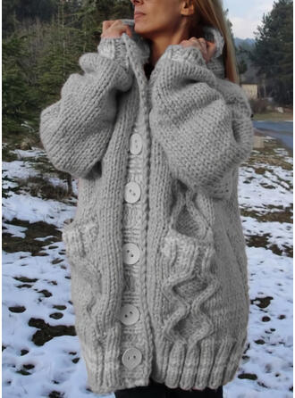 Solid Chunky knit Pocket Hooded Casual Long Cardigan