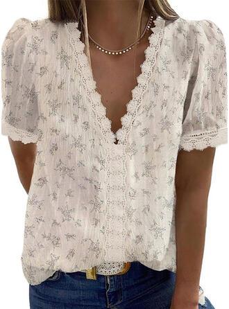 Print Floral Lace V-Neck Short Sleeves Casual Elegant Blouses