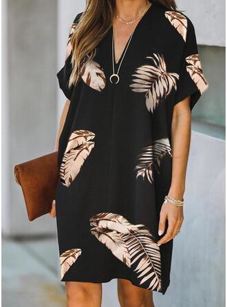 Print Short Sleeves Shift Above Knee Elegant Dresses
