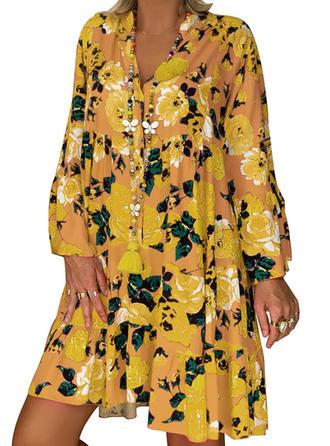 Imprimeu/Floral Mâneci Lungi De schimb Deasupra Genunchiului Casual/Boho/Vacanţă Tunică Elbiseler