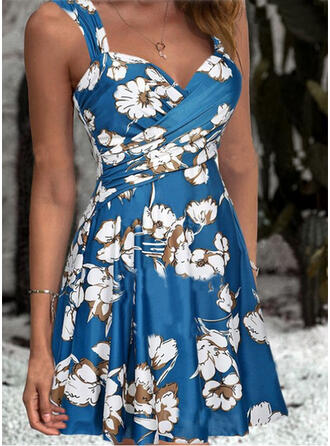 Floral Estampado Cinta Decote em V Vintage Vestidos de banho Maiôs