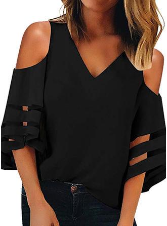 Solid Cold Shoulder 1/2 Sleeves Casual Elegant Blouses