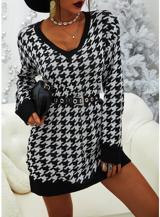 Grid V-Neck Casual Long Sweater Dress