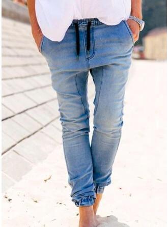 Sólido Jean Grandes Casual Tamanho positivo Bolso cordão Jeans