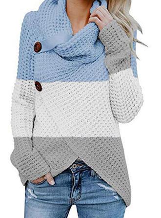 Bloque de Color Cuello de Capucha Casuales Suéteres