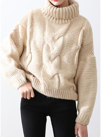 Solid Tricot Cablu Striat Bucată tricotată Helancă Kazaklar