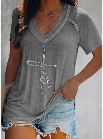 Figura cekiny Dekolt w kształcie litery V Krótkie rękawy T-shirty