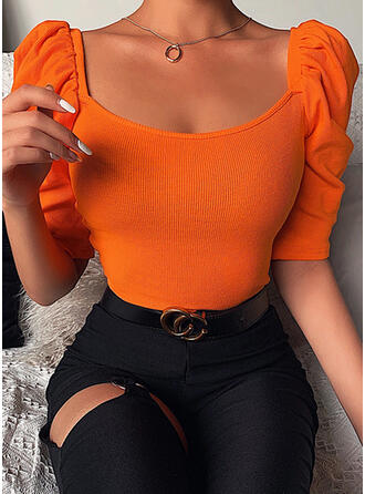 Solid Square Collar 1/2 Sleeves Puff Sleeves T-shirts
