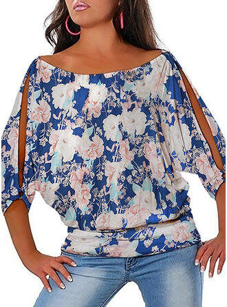 Floral Print Cold Shoulder 1/2 Sleeves Casual Plus Size Blouses