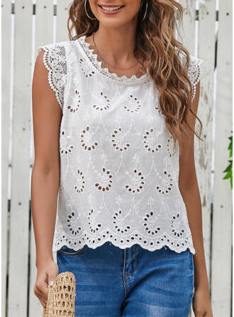 Hollow-out Lace Round Neck Sleeveless Tank Tops