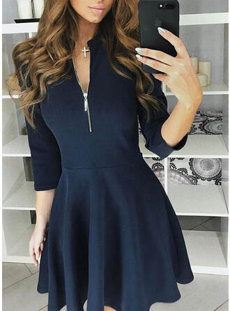 Solid 3/4 Sleeves A-line Above Knee Little Black/Casual Skater Dresses