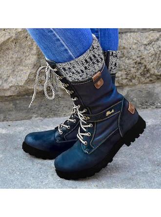 Mulheres PU Salto baixo Botas na panturrilha Martin botas com Zíper Aplicação de renda Cor da emenda sapatos