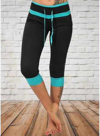 Color Block Capris Casual Sporty Drawstring Pants Leggings