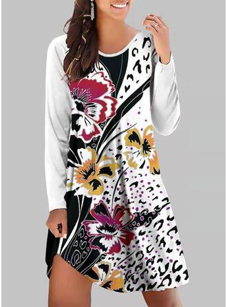 Imprimeu/Floral Mâneci Lungi Shift Elbiseleri Până la Genunchi gündelik Tunică Elbiseler