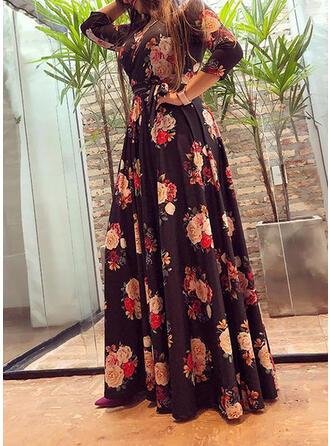 Tallas Grande Floral Impresión Mangas 3/4 Vestido línea A Maxi Casual Elegante Vestido