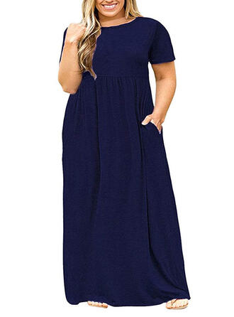 Plus Size Solid Short Sleeves Shift Maxi Casual Little Black Dress