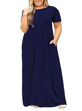 Plus velikost Pevný Krátké rukávy Šaty Shift Maxi Neformální Malé černé Šaty
