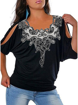 Lace Solid Cold Shoulder 1/2 Sleeves Casual Plus Size Blouses