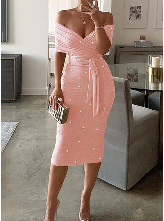Solid/Beaded Short Sleeves Bodycon Pencil Party/Elegant Midi Dresses