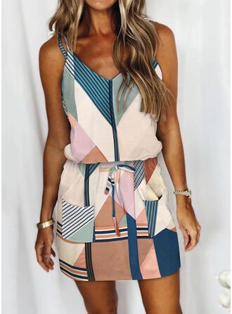 Print/Color Block/Striped Sleeveless Sheath Above Knee Casual Slip Dresses