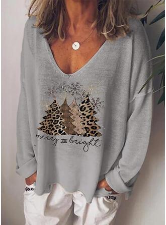 Impresión Leopardo Figura Cuello en V Manga Larga Casual Navidad Camisetas
