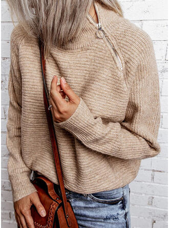 Einfarbig Rollkragen Freizeit Pullover