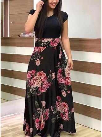 プラスサイズ フローラル 印刷 半袖 Aラインワンピース マキシ カジュアル ドレス