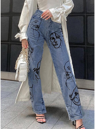 Imprimeu kot Uzun gündelik Kot pantolon
