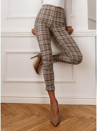 Plaid Shirred Elegant Vintage Pants