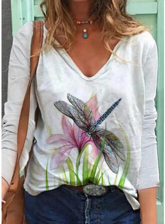 Animal Print Floral V-Neck Long Sleeves T-shirts