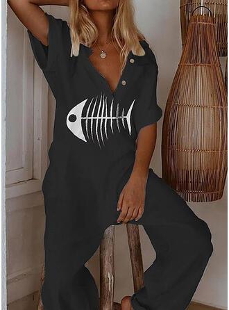 Print V-Neck Short Sleeves Casual Jumpsuit