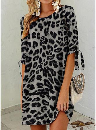 Leopardo Mangas 1/2 Tendencia Sobre la Rodilla Casual Túnica Vestidos