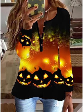 Halloween Imprimé Col V Manches Longues Décontractée Blouses