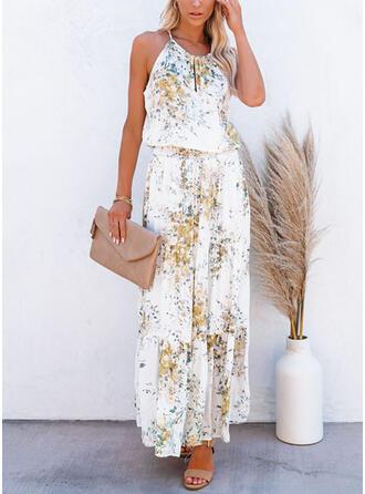Nadrukowana/Kwiatowy Bez rękawów W kształcie litery A Halka/Łyżwiaż Casual Maxi Sukienki