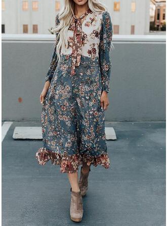 Print/Floral Long Sleeves Shift Casual/Vacation Midi Dresses