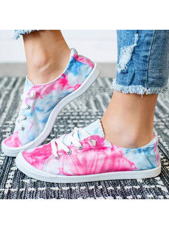 Women's Canvas Flat Heel Flats Low Top Round Toe With Lace-up shoes