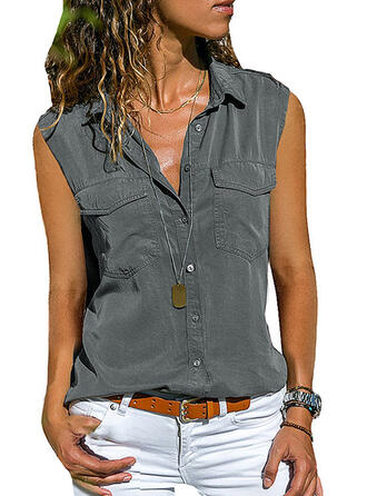 Solid Lapel Sleeveless Tank Tops