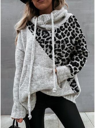 Bloque de Color Bolsillos Leopardo Capucha Casuales Suéteres