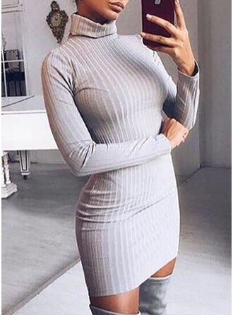 Solid Striat Helancă Rochie pulover