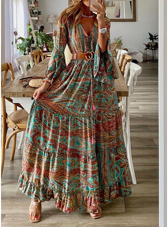 Print Long Sleeves/Flare Sleeves A-line Skater Casual/Boho/Vacation Maxi Dresses