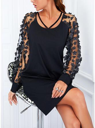 Solid Mâneci Lungi Shift Elbiseleri Deasupra Genunchiului Negre/Zarif Elbiseler