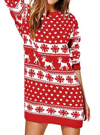 Estampado Animal Cuello Redondo Casuales Largo Navidad Vestido de Suéter