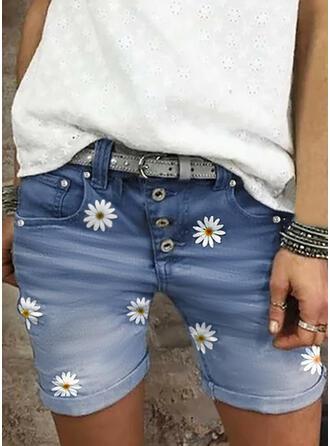 Floral Impresión Juan Por encima de la rodilla Casual Tallas Grande Bolsillo Botones Pantalones Pantalones cortos Vaqueros