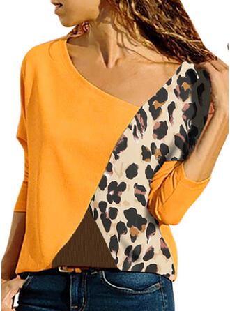 Распечатать V шеи Длинные рукова Повседневная Вязание Блузы