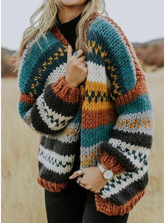 Striped Chunky knit Casual Cardigan