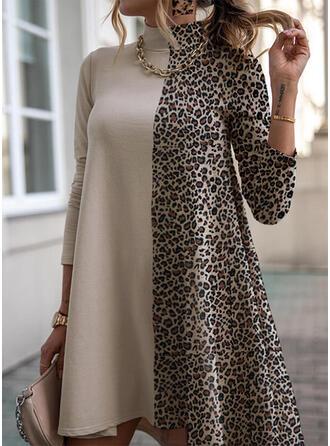 leopard Dlouhé rukávy Splývavé Nad kolena Neformální Tunika Rochii