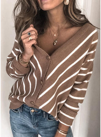 Polyester Long Sleeves Striped Ribbed
