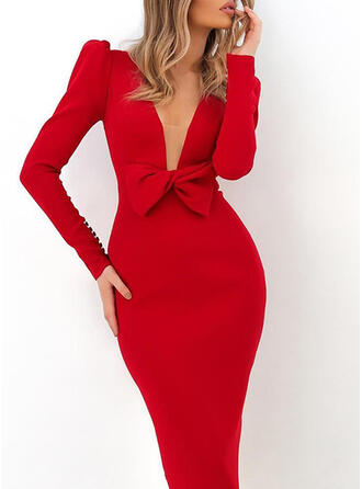 Solid Long Sleeves/Puff Sleeves Bodycon Pencil Party/Elegant Midi Dresses