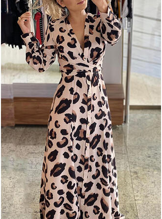 Leopardo Manga Larga Acampanado Patinador Elegante Maxi Vestidos